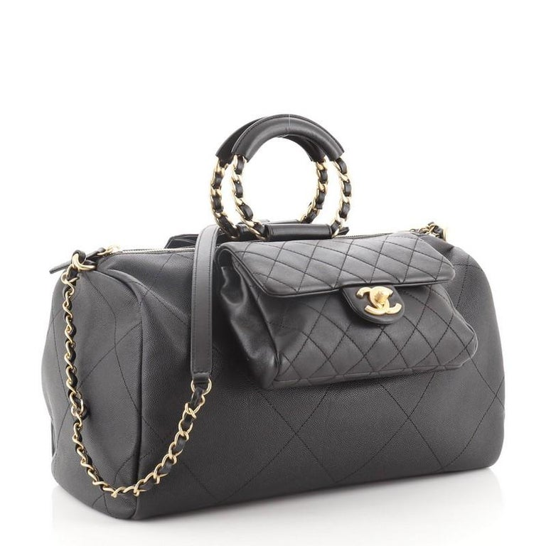 Black Chanel In The Loop Bowling Bag Quilted Caviar and Lambskin Large For Sale
