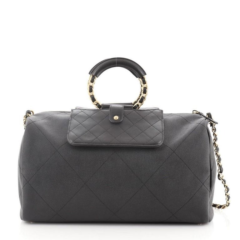 Chanel In The Loop Bowling Bag Quilted Caviar and Lambskin Large In Good Condition For Sale In New York, NY