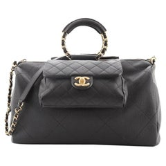 Chanel In The Loop Bowling Bag Quilted Caviar and Lambskin Large