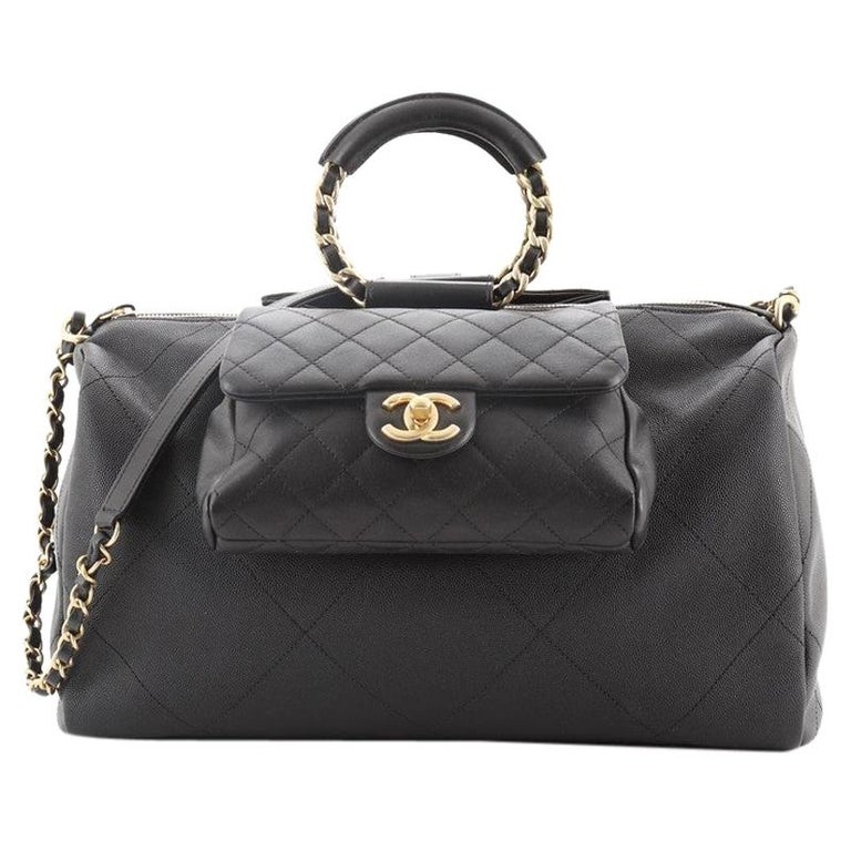 Chanel In The Loop Bowling Bag Quilted Caviar and Lambskin Large For Sale