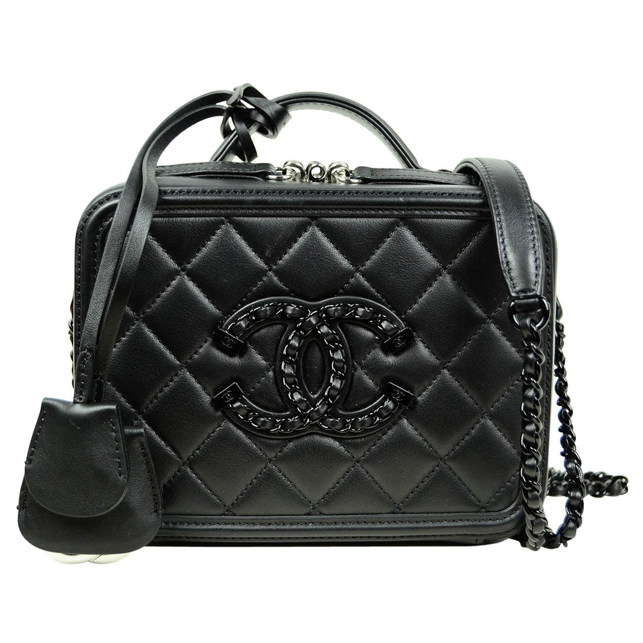 Chanel Incognito SO BLACK Small CC Filigree Vanity Case Crossbody Bag