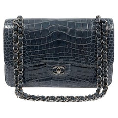 Chanel Indigo Blue Alligator Jumbo Classic Double Flap Bag