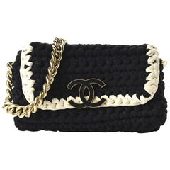 Chanel Interwoven Bicolor Two Tone Medium Black & White Flap Bag