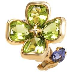 Chanel Iolite Peridot Gold Flower Ring