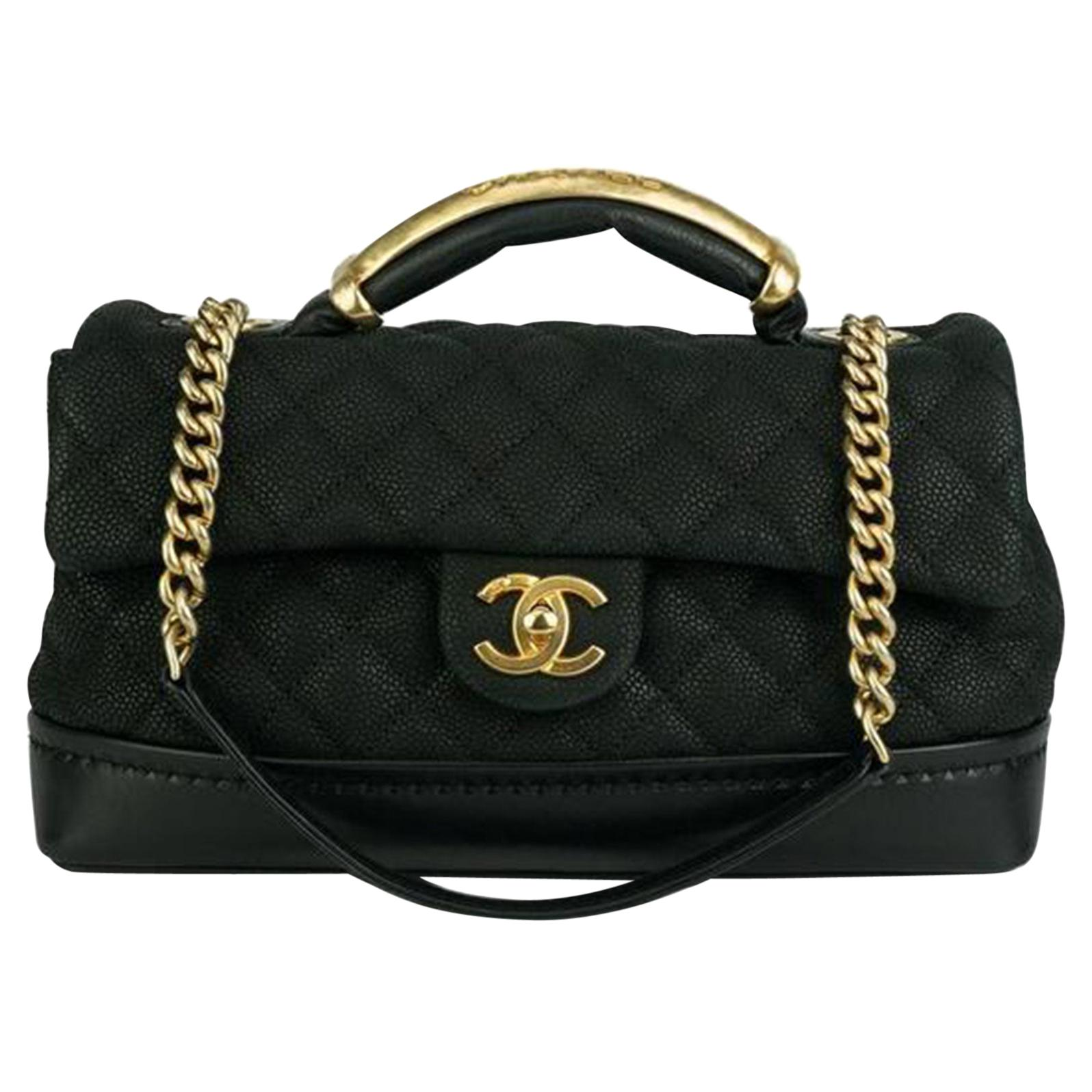Chanel Iridescent Caviar Grain Vanity Tote Crossbody Flap Bag