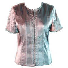 Chanel Iridescent Changing Lame Short Sleeve Jacket Zip Front Top Size 40