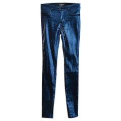 Chanel Iridescent Metallic Blue Stretch Jeggings S