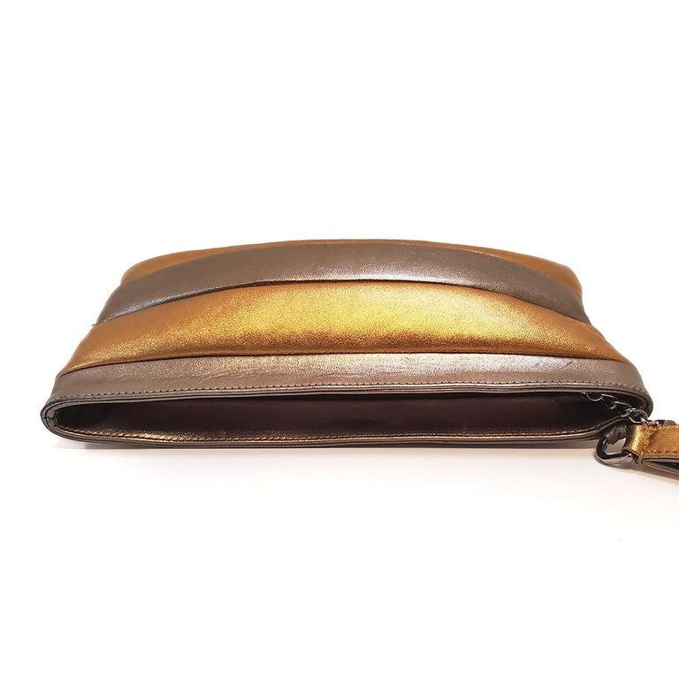 Women's Chanel Iridescent Metallic Gold and Silver Striped Wristlet Handbag For Sale