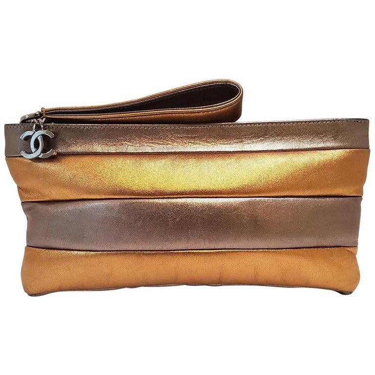 Chanel Iridescent Metallic Gold and Silver Striped Wristlet Handbag For Sale