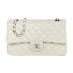 """Chanel Iridescent Pearl Off-White Caviar Leather Quilted Medium 10"""" Classic Bag"""