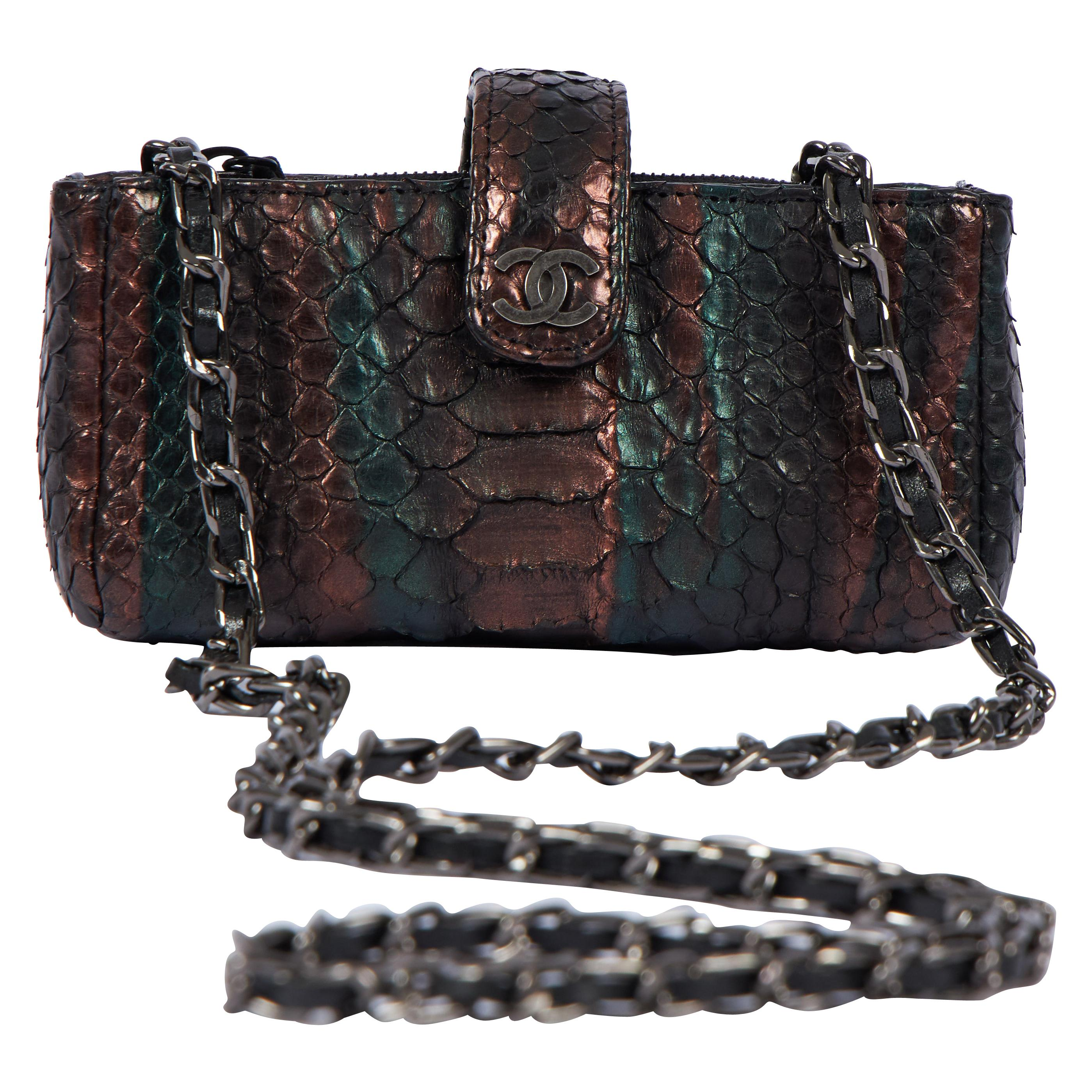 Chanel Iridescent Python Snake Mini Crossbody Bag