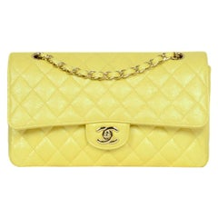 Chanel Iridescent Yellow Quilted Caviar Leather Medium Double Flap Classic Bag