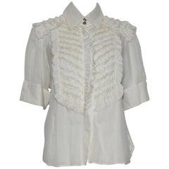 Chanel Ivory 3/4  Sleeve Tuxedo Ruffle Style Blouse