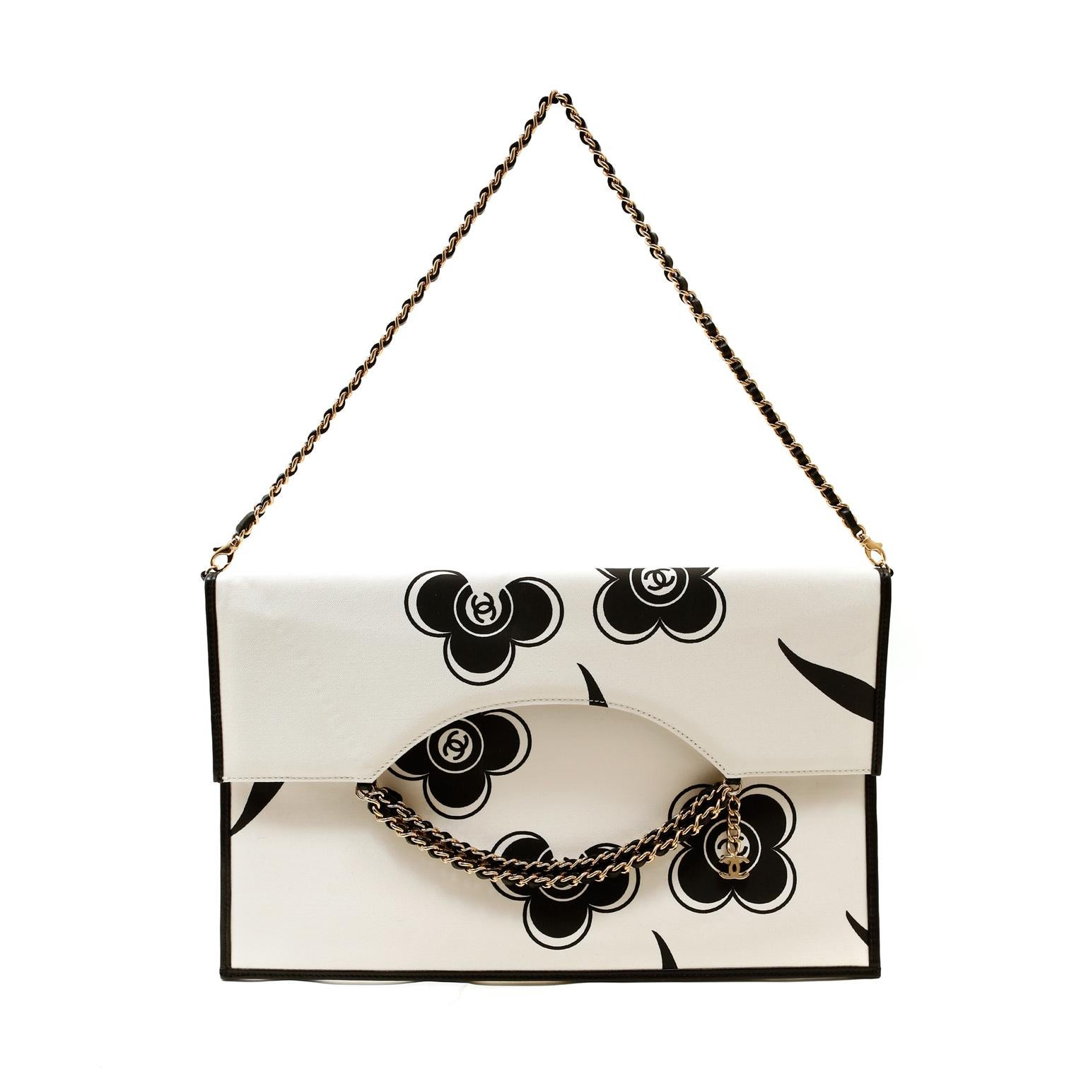 Chanel Ivory and Black Camellia Envelope Clutch with Strap