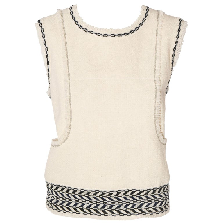 Chanel Ivory and Black Wool Fringed Sleeveless Top From Fall 2004. For Sale