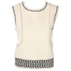 Chanel Ivory and Black Wool Fringed Sleeveless Top From Fall 2004.