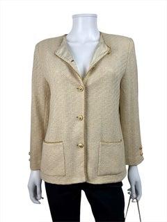 Chanel Ivory and Gold Tweed Jacket + Skirt Set