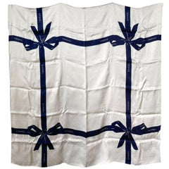 Chanel Ivory and Royal Blue Silk Ribbon Scarf
