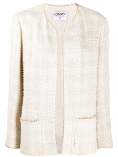 Chanel Ivory Beaded Trim Tweed Jacket