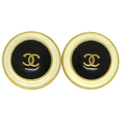 Chanel Ivory Black Gold Enamel Metal Round Evening Stud Button Earrings