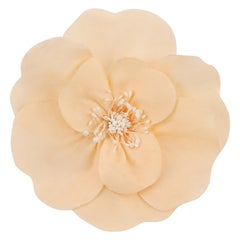 CHANEL Ivory Camellia Flower Brooch Pin + Box