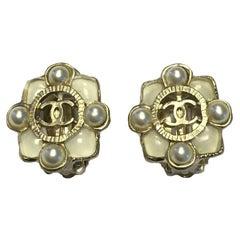 CHANEL Ivory Clip Earrings