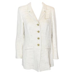 Chanel Ivory Cotton Tweed Jacket With Gold Tone Chanel Buttons