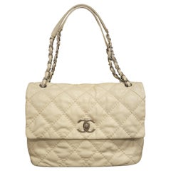 Chanel Ivory Diamond Pondichery Quilted Thick Stitch Single Flap Bag