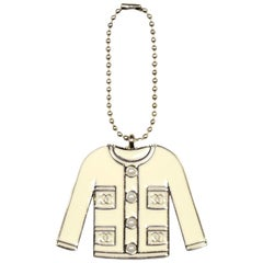 Chanel Ivory Enamel and Faux Pearl Jacket VIP Key Chain/Charm