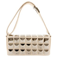 Chanel Ivory Jersey Evening Bag with Mirrored Pyramid Studs