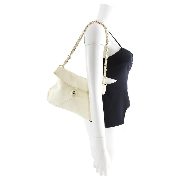 173d1f2d7422ff Beige Chanel Ivory Lambskin Chain Strap Shoulder Bag with CC Resin Ball For  Sale
