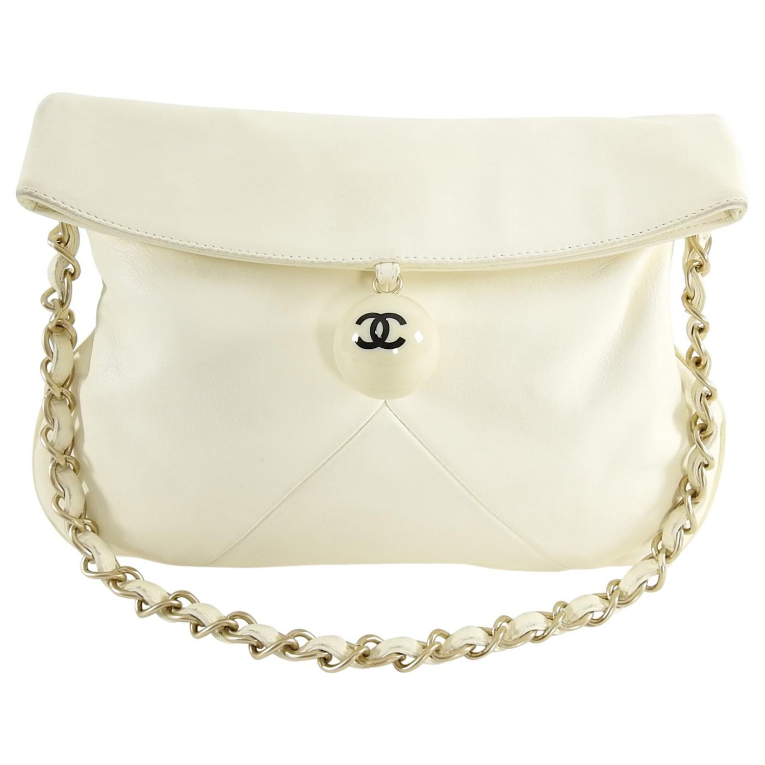 cb5fd99e45d9cc Chanel Ivory Lambskin Chain Strap Shoulder Bag with CC Resin Ball at 1stdibs