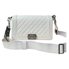 CHANEL Ivory Lambskin Leather Stingray Strap Medium Boy Bag