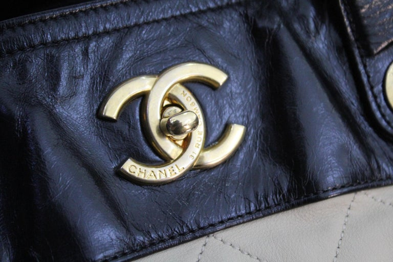 Beige CHANEL  Ivory Leather  Shopping Tote. For Sale