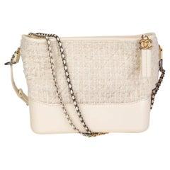 CHANEL ivory leather TWEED 2017 GABRIELLE HOBO Shoulder Bag