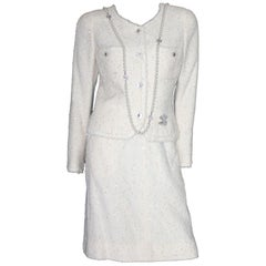 CHANEL Ivory Lesage Fantasy Sequin Tweed CC Logo Skirt Suit as seen on Lady Di