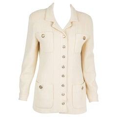 Chanel Ivory Long Boucle Wool Tweed Jacket