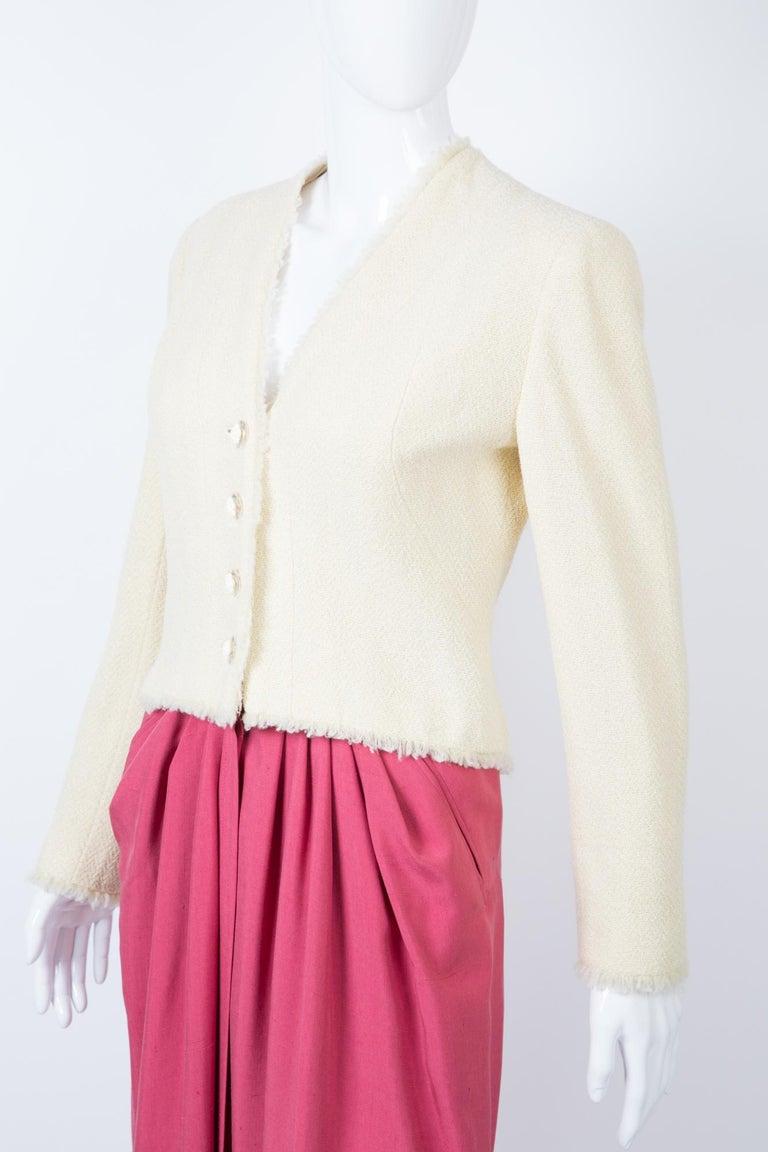 Beige Chanel Ivory Lurex Tweed Boucle Jacket 2000s Croisiere For Sale