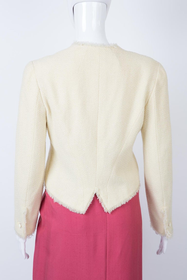 Chanel Ivory Lurex Tweed Boucle Jacket 2000s Croisiere In Excellent Condition For Sale In Paris, FR