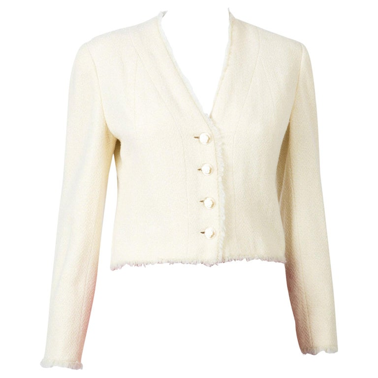 Chanel Ivory Lurex Tweed Boucle Jacket 2000s Croisiere For Sale