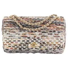 Chanel Ivory Nude Multi-Color Tweed Gold Large Maxi Evening Shoulder Flap Bag