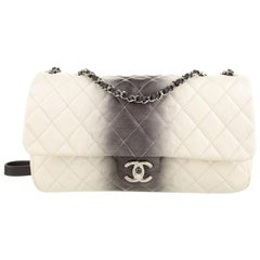 Chanel Ivory Off White Gray Leather Silver Large Evening Shoulder Flap Bag