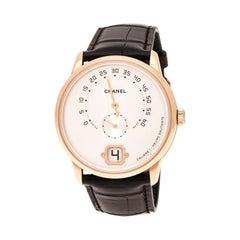 Chanel Ivory Opaline 18K Beige Gold Monsieur H4800 Men's Wristwatch 40 MM