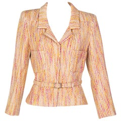 Chanel Ivory Pink Yellow Wool Boucle Belted Jacket 2001