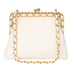Chanel Ivory Quilted Lambskin Vintage Chain Around Timeless Frame Bag