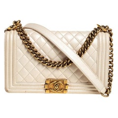 Chanel Ivory Quilted Leather Medium Boy Bag
