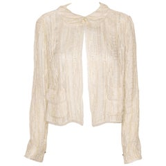 Chanel Ivory Sheer Embroidered Jacket With Frayed Trim and Single Button Closure
