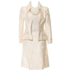 Chanel Ivory Silk Camellia Jacquard & Pearls Jacket Blouse Skirt Suit Ensemble