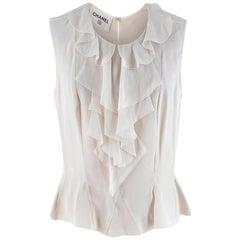 Chanel Ivory Silk Ruffled Sleeveless Blouse - Size US 10