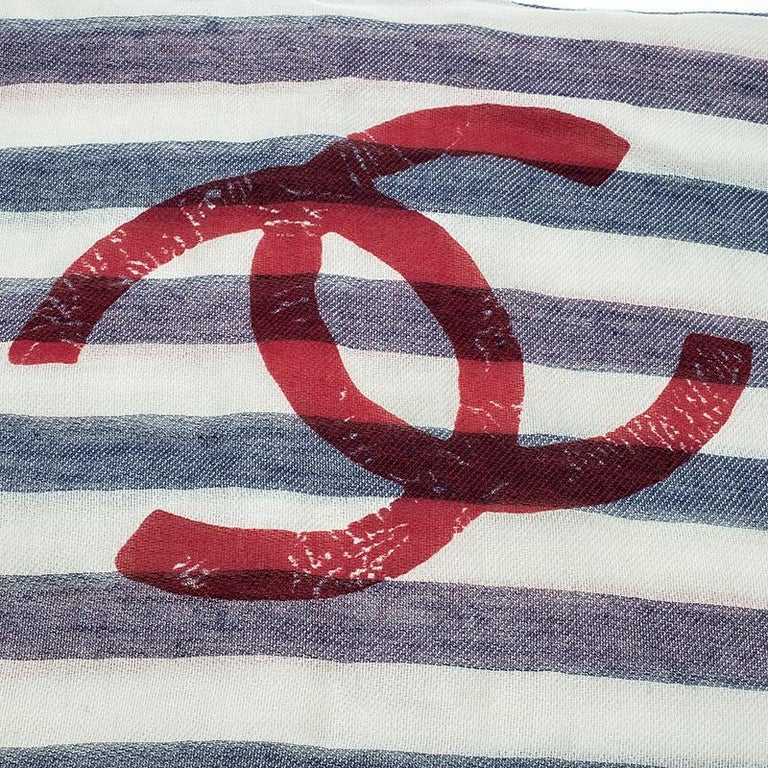 Gray Chanel Ivory Stripe Logo Detail Fringed Edge Stole For Sale